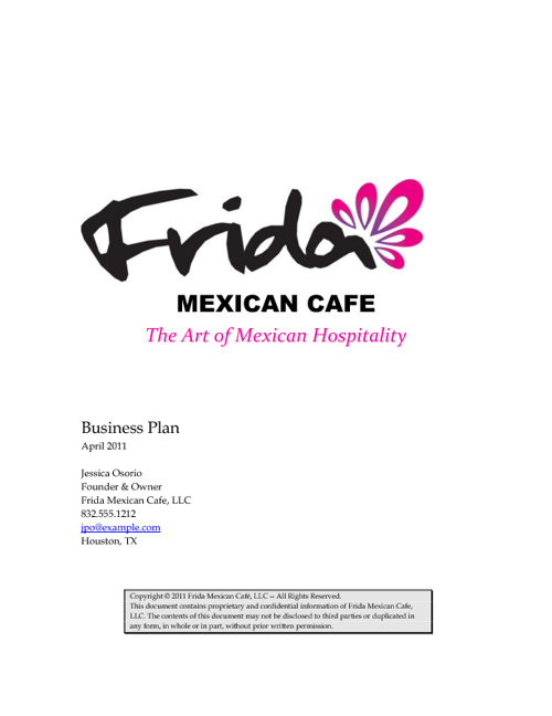 Restaurant business plan samples cayenne consulting frida mexican cafe business plan cheaphphosting Gallery